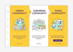 Social units types onboarding vector template. Responsive mobile website with icons. Web page walkthrough 3 step screens. Urban, suburban communities color concept with linear illustrations