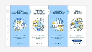 Social unit development advantages onboarding vector template. Responsive mobile website with icons. Web page walkthrough 4 step screens. Increased knowledge color concept with linear illustrations