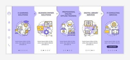 Social unit development projects onboarding vector template. Responsive mobile website with icons. Web page walkthrough 5 step screens. Online, offline training color concept with linear illustrations