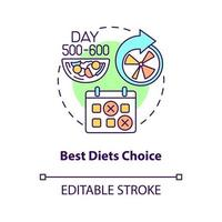 Best diets choice concept icon. Choosing food allowed during disease. Healthy meals preparing abstract idea thin line illustration. Vector isolated outline color drawing. Editable stroke