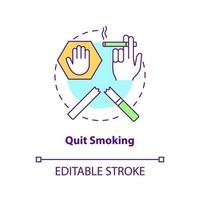 Quit smoking concept icon. Fight with unhealthy habits. Dealing with healh problems. Organs problems abstract idea thin line illustration. Vector isolated outline color drawing. Editable stroke