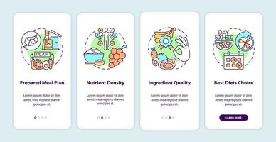 Meal delivery for diabetics onboarding mobile app page screen. Nutrients walkthrough 4 steps graphic instructions with concepts. UI, UX, GUI vector template with linear color illustrations