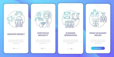 Anti-racism commitment onboarding mobile app page screen. Promote respect walkthrough 4 steps graphic instructions with concepts. UI, UX, GUI vector template with linear color illustrations