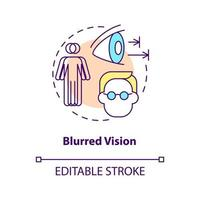 Blurred vision concept icon. Problems with eyes. Medical help. Curing sight issues. Seeing badly abstract idea thin line illustration. Vector isolated outline color drawing. Editable stroke
