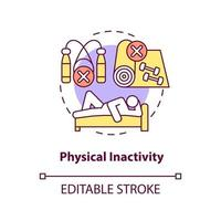 Physical inactivity concept icon. Sitting or laying down during day. Lazy lifestyle. Health problems abstract idea thin line illustration. Vector isolated outline color drawing. Editable stroke