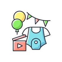 Baby shower party video RGB color icon. Newborn gender reveal vlog. Child birth announcement video. Virtual baby shower. Isolated vector illustration. Videography simple filled line drawing