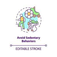 Evite el icono del concepto de comportamientos sedentarios. estilo de vida perezoso. ser más activo durante el día. salud idea abstracta ilustración de línea fina. dibujo de color de contorno aislado vectorial. trazo editable vector