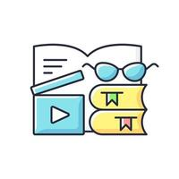 Book review videos RGB color icon. Shooting content for literature vlog. E book online. Filmmaking for literary blog. Isolated vector illustration. Videography simple filled line drawing