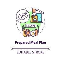 Prepared meal plan concept icon. Eating strategy for curing disease. Healthy foods for illness. Diabetes abstract idea thin line illustration. Vector isolated outline color drawing. Editable stroke