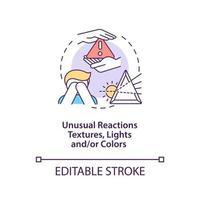 Problemas sensoriales en el icono del concepto de autismo. Ilustración de línea fina de idea abstracta de síntoma de autismo. reacciones inusuales a texturas, luces y colores. dibujo de color de contorno aislado vectorial. trazo editable vector