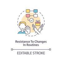 resistencia a los cambios en el icono del concepto de rutinas. autismo signo idea abstracta ilustración de línea fina. participar en un comportamiento de rabieta. dibujo de color de contorno aislado vectorial. trazo editable vector