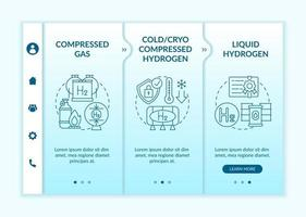 H2 storage approaches onboarding vector template. Responsive mobile website with icons. Web page walkthrough 3 step screens. Liquid hydrogen, compressed gas color concept with linear illustrations