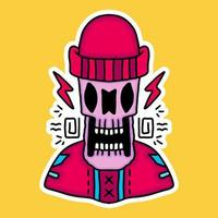 hype skull in beanie hat design graphic for t-shirt and apparel vector