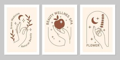 Mystic boho set of elegant female hands with moon, star, plant, apple in line art. Vector magic symbol isolated on beige background. Trendy minimalist signs for design of cosmetics, jewelry, beauty