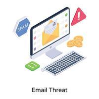 amenaza y alerta por correo electrónico vector
