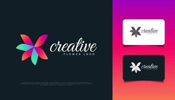 Colorful Flower Logo Design with Modern Concept. Colorful Leaf Ornament, Suitable for Spa, Beauty, Resort, Creative Company or Cosmetic Product Identity vector