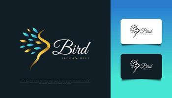 Elegant Bird Logo in Blue and Gold with Abstract Style. Luxury Flying Bird Logo Design vector