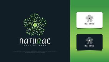 Nature Green Leaf Ornament Logo Design, Suitable for Spa, Beauty, Resort, or Cosmetic Product Identity. Green Mandala Logo vector