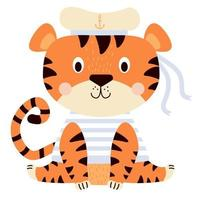 Cute tiger. A funny character in sea clothes - a striped vest and a hat with an anchor with ribbons. Vector illustration. 2022 year of the tiger. Isolated For design, print, postcards and decor