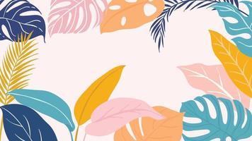 papel tapiz art deco de bosque tropical. patrón floral con flores y hojas exóticas, planta de filodendro de hoja dividida, planta de monstera, arte lineal de plantas de la jungla sobre fondo de moda. ilustración vectorial. vector