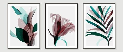 Abstract art tropical leaves background vector. wall art design with watercolor art texture from floral and palm leaves vector
