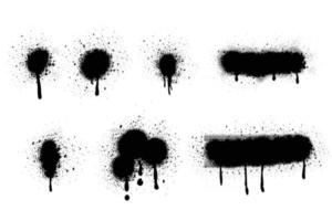 Spray Paint Vector Elements isolated on White Background. Set of  frame and black round ink stains, Lines and Drips Black ink splatters, Ink blots set, Street style.