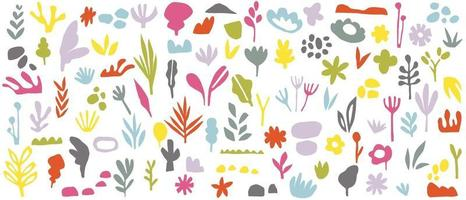 Abstract background vector with natural and floral line arts. Creative pattern with hand drawn shapes. Design background for social media post, cover, print and wallpaper