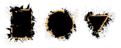 Gold and dark frame vector collection. Creative background design with pain brush and grunge texture.