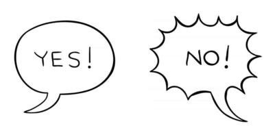 Cartoon Vector Illustration of Speech Bubble With Yes and Exclamation Bubble With No