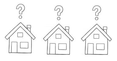 Cartoon Vector Illustration of Three Houses With Question Marks