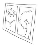ilustración vectorial de dibujos animados de ventana y día sol y árbol vector