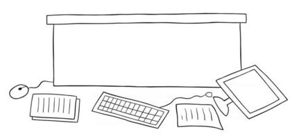 Cartoon Vector Illustration of Messy Office Desk Computer and Papers on the Floor