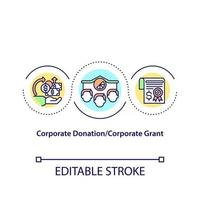 Corporate donation and corporate grant concept icon. Money collection strategy. Funds investment idea thin line illustration. Vector isolated outline color drawing. Editable stroke
