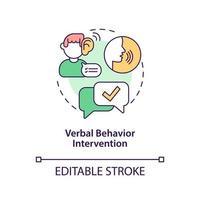 icono del concepto de intervención de comportamiento verbal. Ilustración de línea fina de idea abstracta de corrección de comportamiento autista. enseñanza de la comunicación, el lenguaje. dibujo de color de contorno aislado vectorial. trazo editable vector