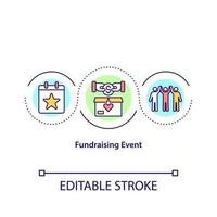 Fundraising event concept icon. Collecting money during organized show. Company collecting investments abstract idea thin line illustration. Vector isolated outline color drawing. Editable stroke
