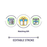 Matching gift concept icon. Giving money to charity organizations. Valuable present. Fund increase. Charity idea thin line illustration. Vector isolated outline color drawing. Editable stroke