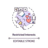Restricted interests concept icon. Autism symptom abstract idea thin line illustration. Obsessions, compulsions. Strong, limited interests. Vector isolated outline color drawing. Editable stroke