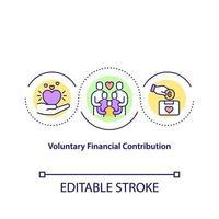 icono de concepto de contribución financiera voluntaria. organización benéfica para la recaudación de fondos. Ilustración de línea fina de idea de colección de dinero. dibujo de color de contorno aislado vectorial. trazo editable vector