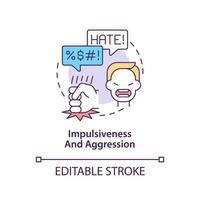 Icono de concepto de comportamientos agresivos e impulsivos. Ilustración de línea fina de idea abstracta de síntoma de autismo. falta de control emocional. sentimientos de ira. dibujo de color de contorno aislado vectorial. trazo editable vector