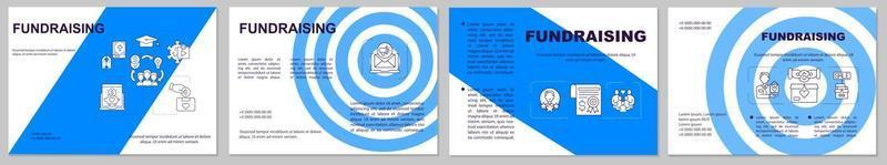 Fundraising brochure template. Money gathering company. Flyer, booklet, leaflet print, cover design with linear icons. Vector layouts for presentation, annual reports, advertisement pages