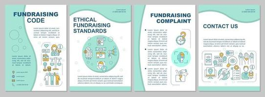 Fundraising code brochure template. Fundraising complaint. Flyer, booklet, leaflet print, cover design with linear icons. Vector layouts for presentation, annual reports, advertisement pages