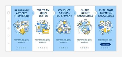 Shareable content methods onboarding vector template. Responsive mobile website with icons. Web page walkthrough 5 step screens. Conduct social experiment color concept with linear illustrations