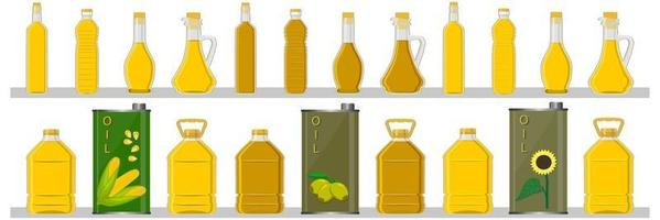 Illustration on theme big kit oil in different glass bottles for cooking food vector