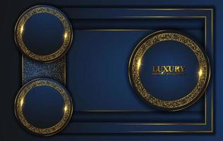 Luxury Abstract, 3d background with dark blue paper layers. Elegant decoration, Vector shape geometric, Golden Glittering, Glitter Gold, Sparkling background. Graphic design element.