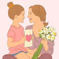 child daughter congratulates mother and gives a bouquet of flowers vector