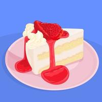 Delicious shortcake with strawberries vector