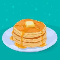 pancakes with butter and honey syrup vector