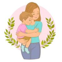 Baby In A Tender Embrace Of Mother vector