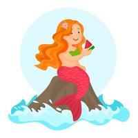 Cute mermaid eating a watermelon slice vector