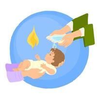 Newborn baby baptism by water with hands of priest vector